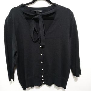 Lane Bryant Tie Neck Black Sweater